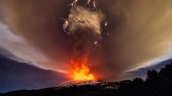 smoke, fire, clouds, vulcano, lightning, volcano, nature, lava