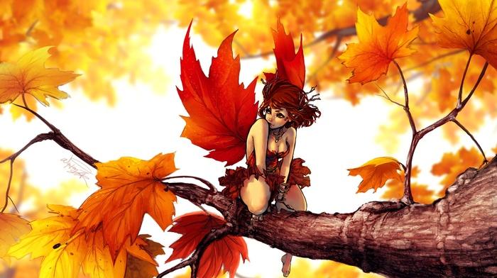 fairies, fantasy art, trees, maple leaves, artwork, leaves, digital art