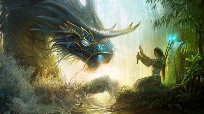 sword, dragon, video games, fantasy art, samurai, Might And Magic, artwork, armor, girl