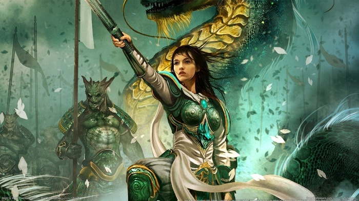 girl, warrior, Heroes of Might and Magic VI, knights, dragon, knight, artwork, armor, Heroes of Might and Magic, fantasy art, Might And Magic, sword