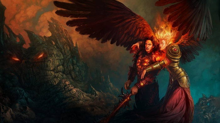 angel, fire, sword, fantasy art, girl, Might And Magic, Heroes of Might and Magic, artwork, wings