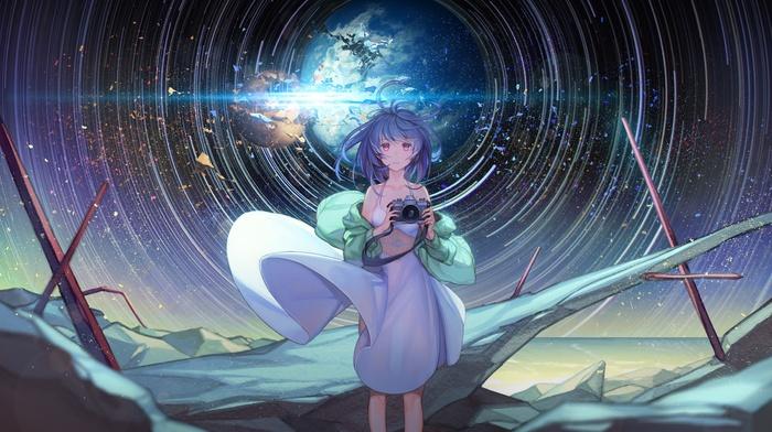 original characters, blue hair, camera, pink eyes, stars, anime girls, sky, dress
