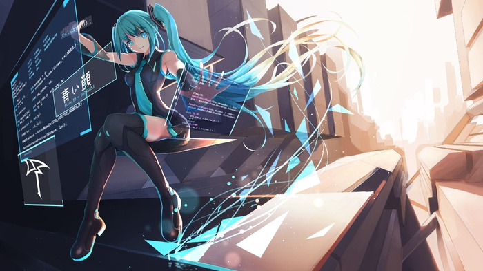 blue eyes, code, thigh, highs, twintails, blue hair, anime girls, interfaces, long hair, computer, Hatsune Miku, Vocaloid