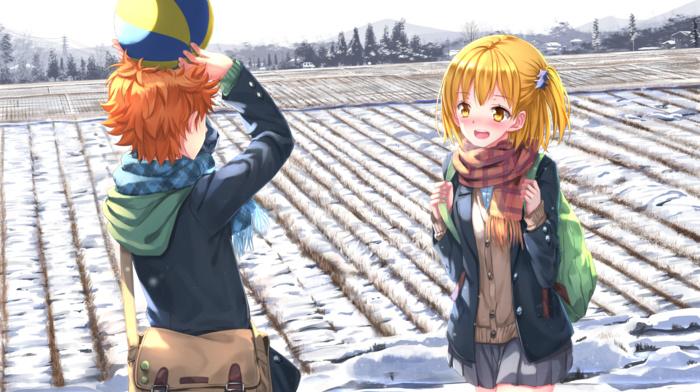 orange hair, school uniform, yellow eyes, ball, Hinata Shouyou, anime boys, hoods, anime girls, blonde, snow, scarf, Yachi Hitoka, anime, Haikyuu, Swordsouls, winter, short hair