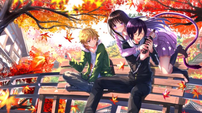 fall, Yato Noragami, anime, leaves, long hair, Yukine Noragami, anime girls, Iki Hiyori, short hair, tail, Noragami, black hair, school uniform, anime boys, blonde, Swordsouls