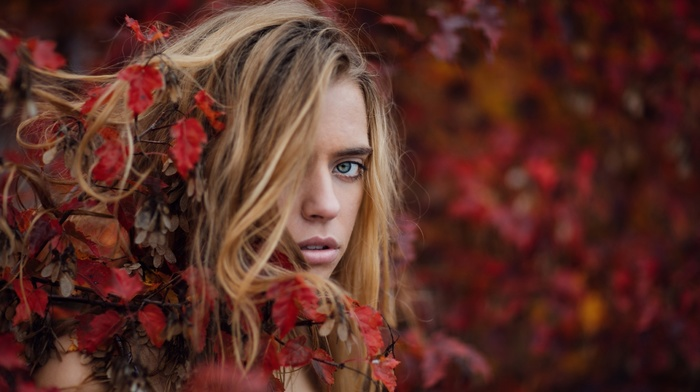 model, branch, portrait, leaves, open mouth, face, blonde, nature, girl, fall, hair in face, blue eyes, long hair, looking at viewer, girl outdoors, depth of field