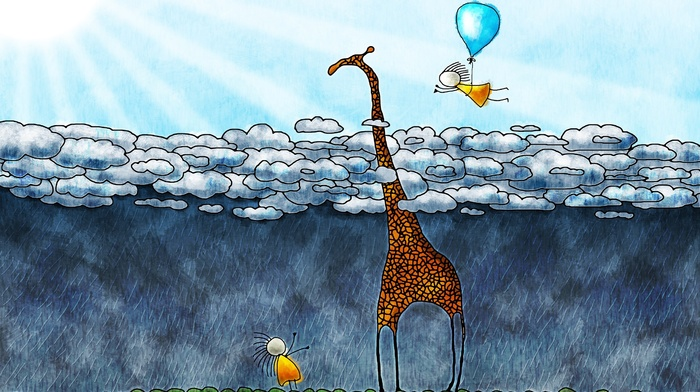 children, clouds, rain, nature, Sun, sun rays, animals, artwork, drawing, Vladstudio, flying, balloons, giraffes