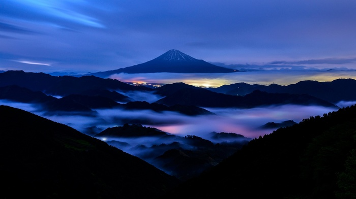 forest, Mount Fuji, long exposure, mountain, city, lights, snowy peak, clouds, hill, landscape, Japan, trees, mist, nature, evening