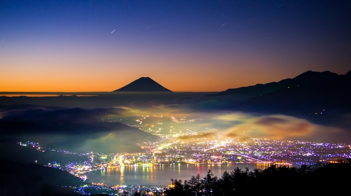 nature, lake, Japan, stars, lights, mist, mountain, evening, city, trees, long exposure, sunset, Mount Fuji, landscape, silhouette, hill, forest