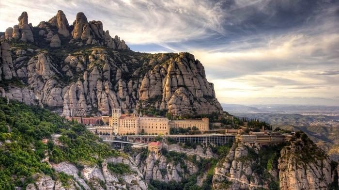 mountain, nature, building, Spain, landscape, clouds, HDR