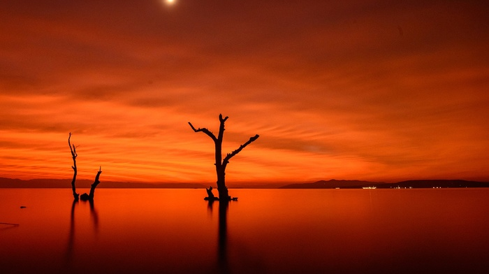 clouds, hill, simple, water, landscape, Sun, orange, nature, minimalism, trees, lights, reflection, branch, horizon