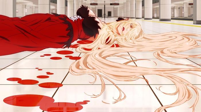 monogatari series, artwork, anime girls, Oshino Shinobu, blood, anime