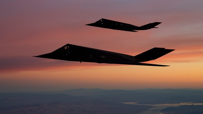 strategic bomber, f, 117 Nighthawk, military aircraft, US Air Force, aircraft, stealth, sunset