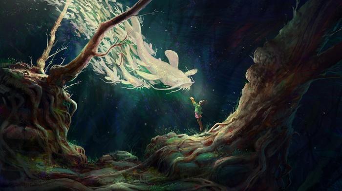 Spirit, underwater, artwork, fantasy art, fish, children, spirits, trees
