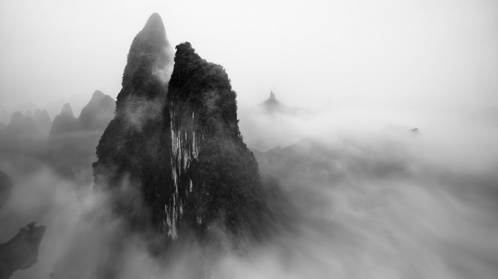 shrubs, mountain, China, mist, landscape, monochrome, morning, Guilin, nature
