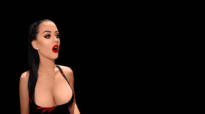 celebrity, dark hair, lipstick, Katy Perry, cleavage