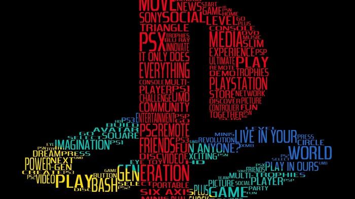 Play Station, video games, logo, digital art