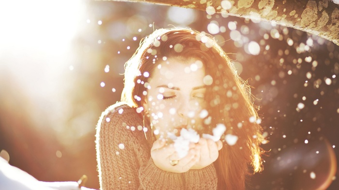 brunette, closed eyes, filter, branch, bokeh, long hair, hand, snow, depth of field, sunlight, winter, sweater, girl, girl outdoors, blow