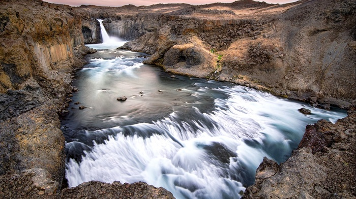 Iceland, stones, nature, mountain, rock, waterfall, landscape, water, long exposure