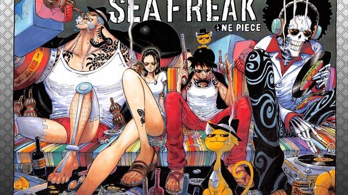 Monkey D. Luffy, Franky, One Piece, Brook, Nico Robin