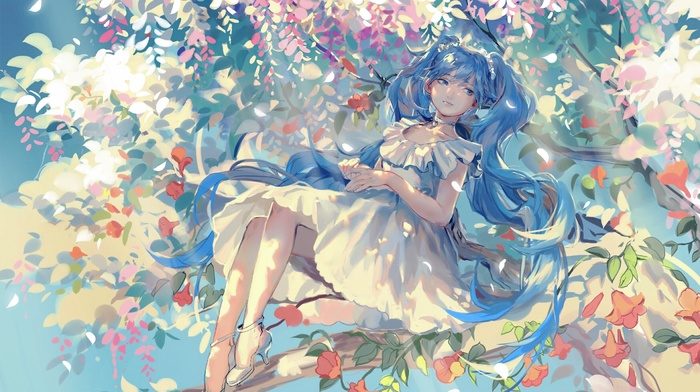 Vocaloid, heels, dress, trees, Hatsune Miku