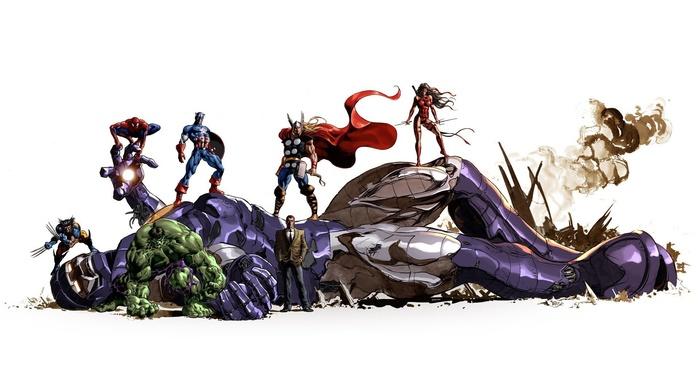 spider, man, Sentinel, Hulk, Marvel Comics, Captain America, Wolverine, The Avengers, Thor
