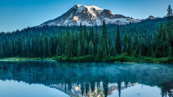 mountain, landscape, water, pine trees, lake, sunlight, nature, snowy peak, reflection, blue, Washington state, sky, mist, forest, morning