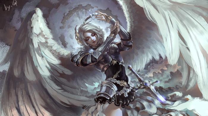 fantasy art, wings, armor, angel, gray