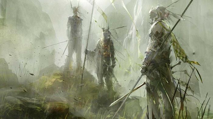spear, fantasy art, warrior, green