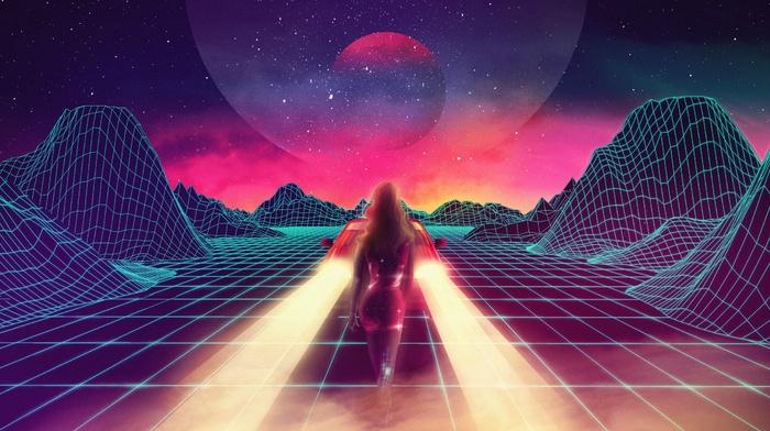 New Retro Wave, car, retro games, synthwave, neon, 1980s