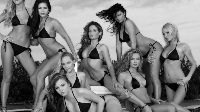pornstar, model, monochrome, girl, Hanna Hilton, Sunny Leone, Charlie Laine, bikini