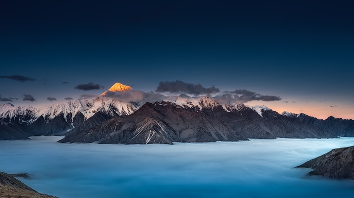 mist, landscape, blue, mountain, moon, panoramas, clouds, nature, sunset, snowy peak, sky