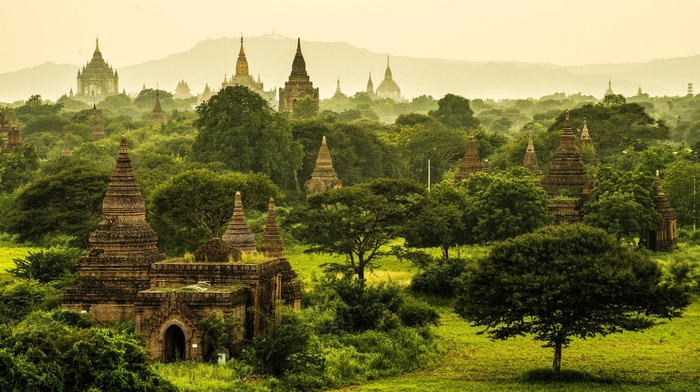 buddhism, grass, mist, Myanmar, landscape, nature, green, monastery, tropical, temple, trees