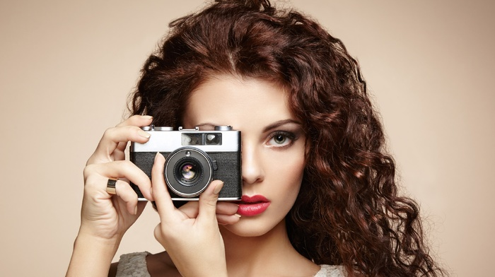 camera, red lipstick, portrait