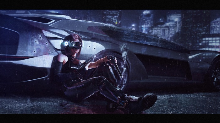 artwork, girl with guns, weapon, concept art, rain, girl, car, futuristic, girl with cars, gun