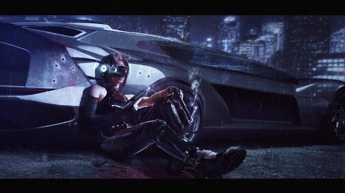 artwork, girl with guns, weapon, concept art, rain, girl, car, futuristic, girl with cars, gun