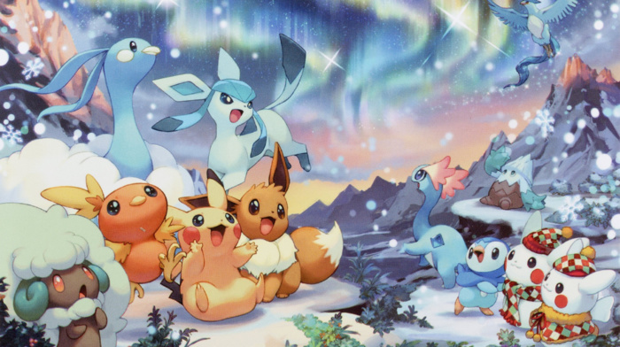 holiday, Pikachu, Eevee, Christmas, Pokemon