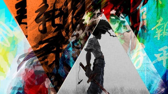 triangle, Afro Samurai, mixed martial arts, colorful, katana, anime, chinese, samurai