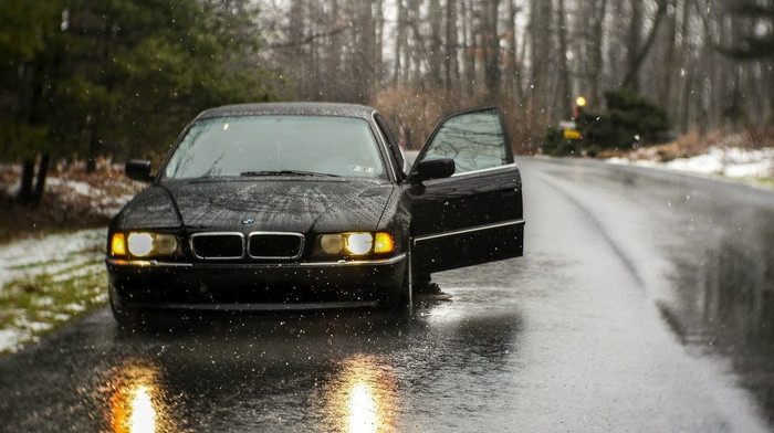 car, rain, BMW 740, black, old car