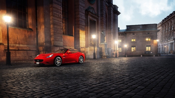 Ferrari California, building, red cars, architecture, lamps, street light, Ferrari, tiles, car, Italy, old building, town square, urban, sports car, Cabrio, street