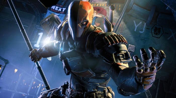 Batman Arkham Origins, angry, armor, video games, sticks, DC Comics, Deathstroke