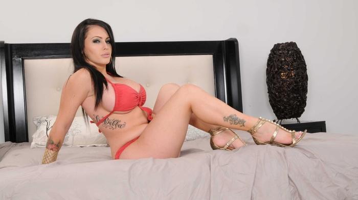 Tattoos High Heels Dark Hair Fake Boobs Bikini Pornstar Jenna Download Wallpaper