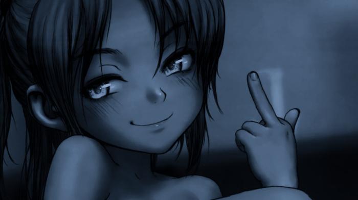 middle finger, anime girls