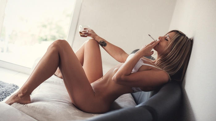 tattoo, smoking, girl, blonde, couch, sitting, closed eyes, white bra, pierced navel, Fanny, nude
