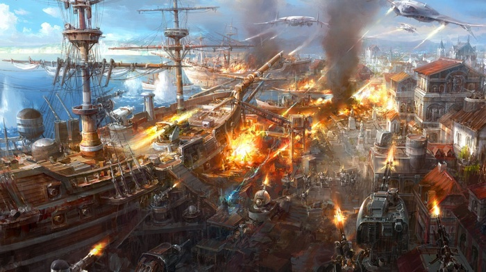 war, aircraft, artwork, battleships, steampunk
