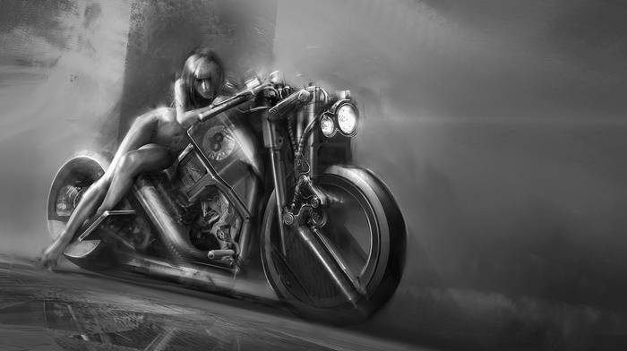 artwork, monochrome, motorcycle, girl, nude