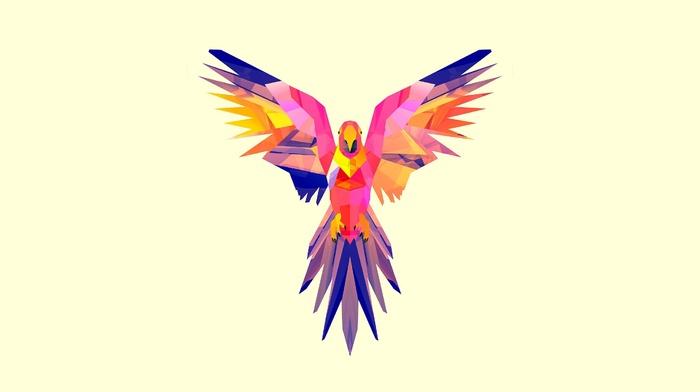 simple background, Justin Maller, artwork, birds, geometry