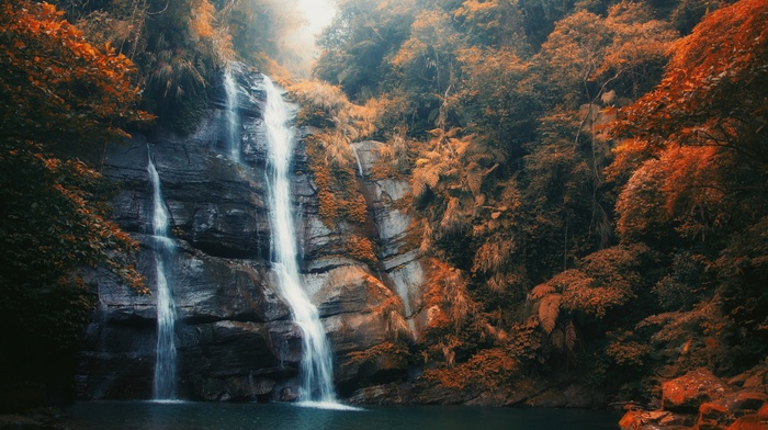 orange, fall, mist, daylight, nature, leaves, forest, waterfall, landscape, pond