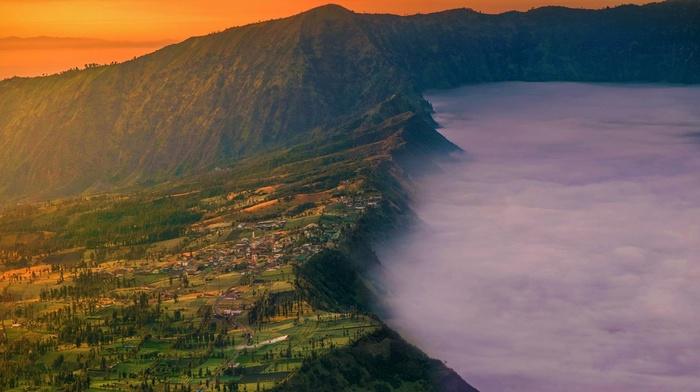 sunset, mountain, landscape, village, Mount Bromo, nature, Indonesia, crater, java, field, mist