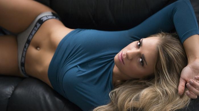 Eric Snyder, couch, girl, blonde, sensual gaze, underwear